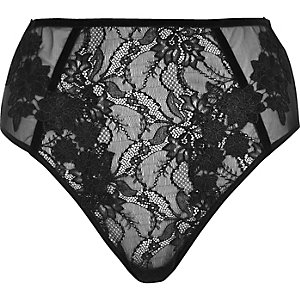Black lace high waisted knickers