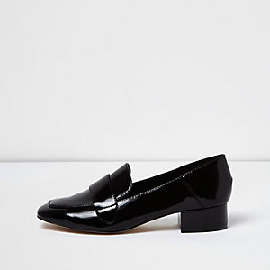 Black patent leather block heel loafers