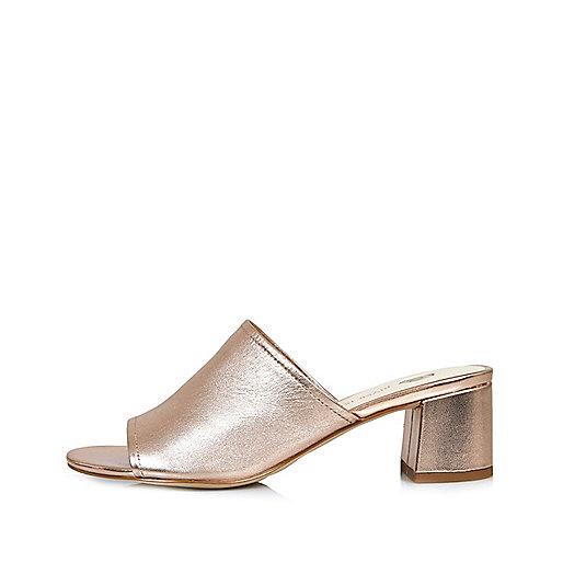 Metallic rose gold leather mules