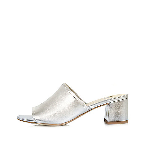 Metallic silver leather mules