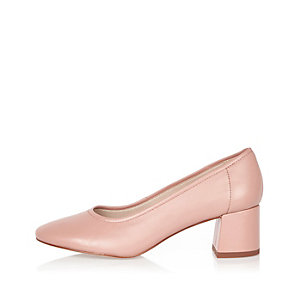 Pink leather block heel glove shoes
