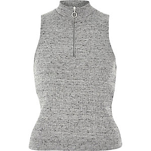 Grey zip turtleneck top
