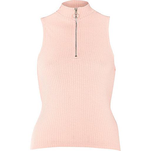 Light pink zip turtle neck top