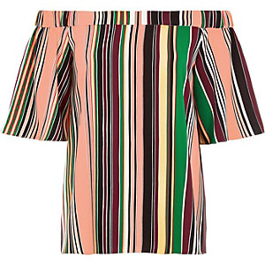 Green stripe bardot top