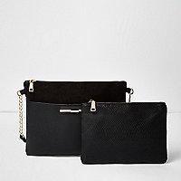 Porte-monnaie et sac à main à bandoulière noire à empiècements