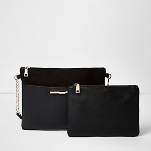 Black panel cross body handbag and purse