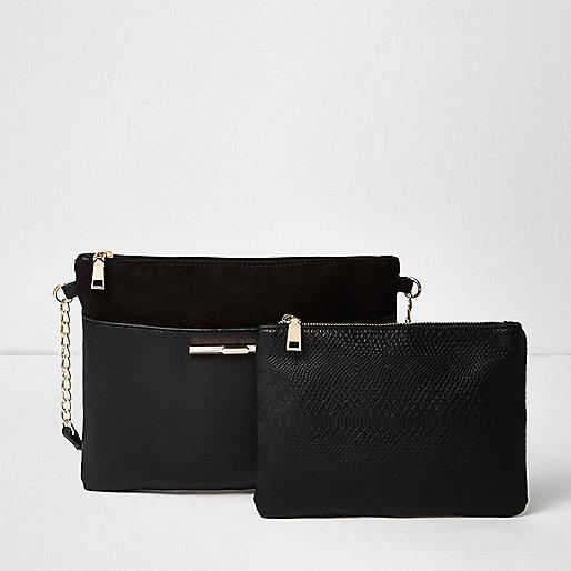 Porte-monnaie et sac bandoulière noir à empiècements