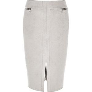 Grey zip detail pencil skirt