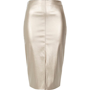Silver metallic pencil skirt