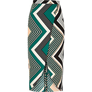 Green print wrap midi skirt