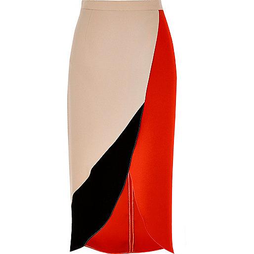 Red colour block wrap midi skirt