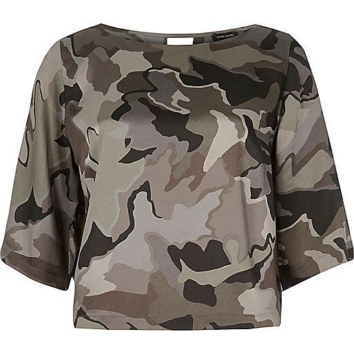 Top imprimé camouflage kaki
