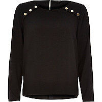 Black studded military top