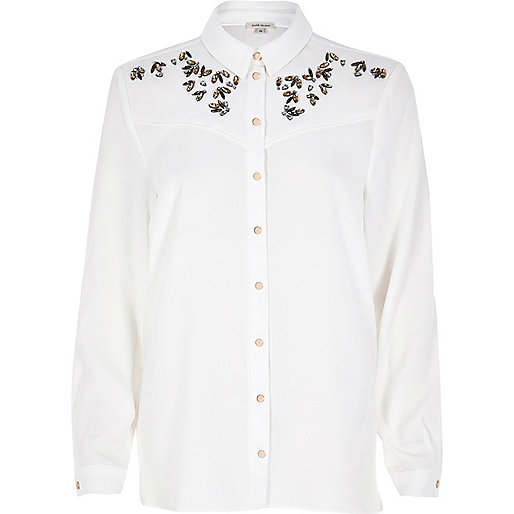 White embellished peaches shirt