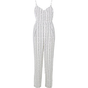 White stripe cami jumpsuit