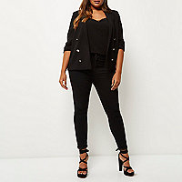 Plus black buttoned blazer