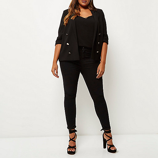 RI Plus black buttoned blazer