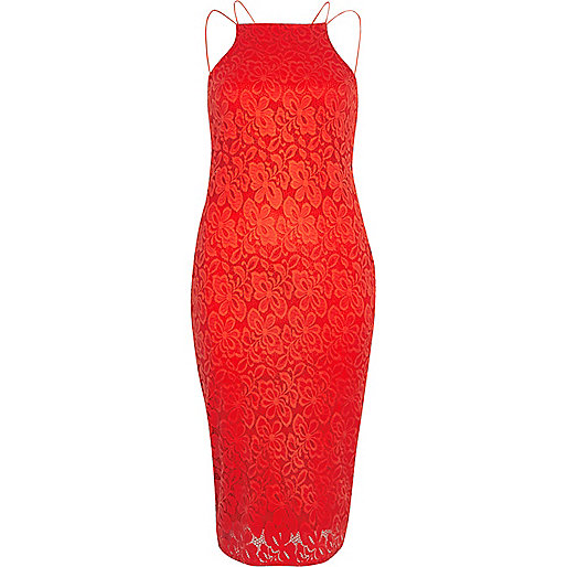 Red lace cami bodycon dress