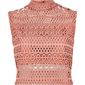 Crop top en cornelli rose