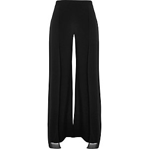 Black chiffon panelled wide leg pants