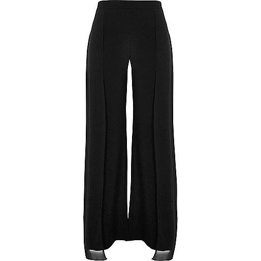 Black chiffon panelled wide leg trousers