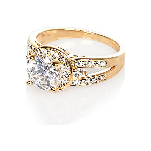 Gold tone crystal embellished ring
