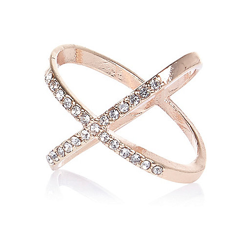 Rose gold tone entwined diamanté ring