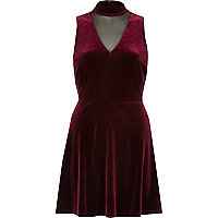 Dark red velvet choker mesh skater dress