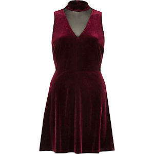 Burgundy velvet choker mesh skater dress