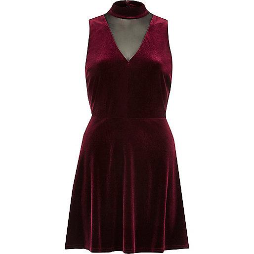 Dark red velvet choker mesh skater dress