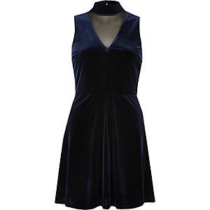 Navy velvet choker mesh skater dress