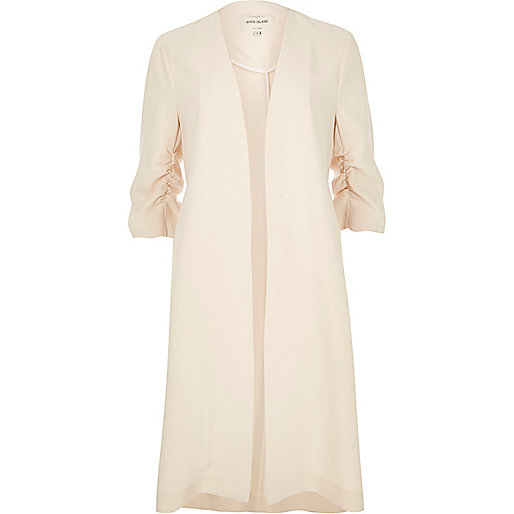 Cream ruched duster jacket