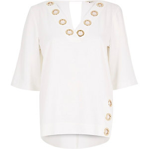 Cream eyelet boxy top