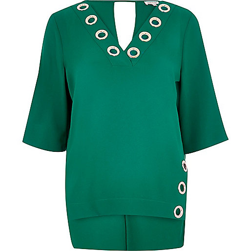 Green eyelet boxy top