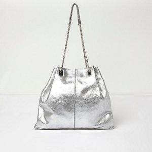 SIlver leather chain handbag