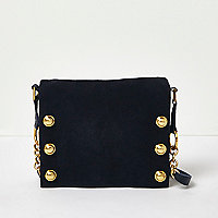 Navy suede foldover clutch bag