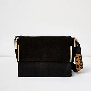 Black suede leopard print strap foldover bag