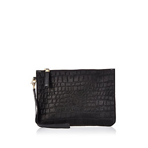 Black textured leather pouchette bag