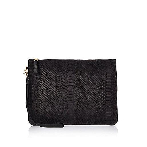 Black snake print leather pouchette bag