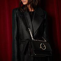 RI Studio – Schwarze Lederhandtasche mit D-Ringen