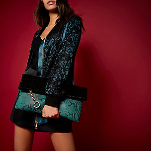RI Studio black leather oversized clutch bag