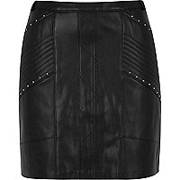 Black stud biker mini skirt