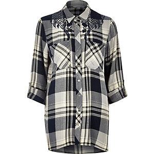 Navy check shirt with embroidered detail