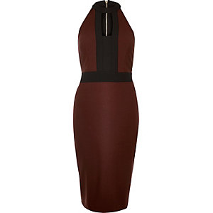 Dark red color block bodycon dress