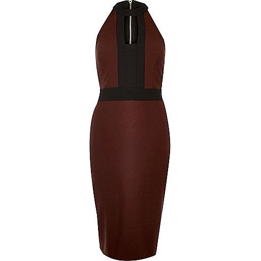 Dark red colour block bodycon dress