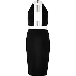 Black colour block cut-out dress