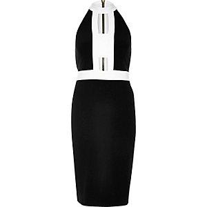 Black colour block cut-out dress
