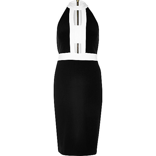 Black color block cut-out dress