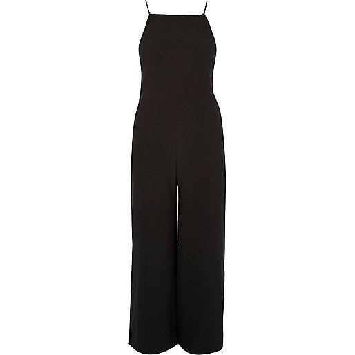Combinaison jupe-culotte noire à fines bretelles