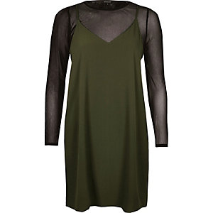 Khaki double layer mesh slip dress